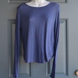 Blue Long Sleeve Top w/Faux Wrap Back by Splendid